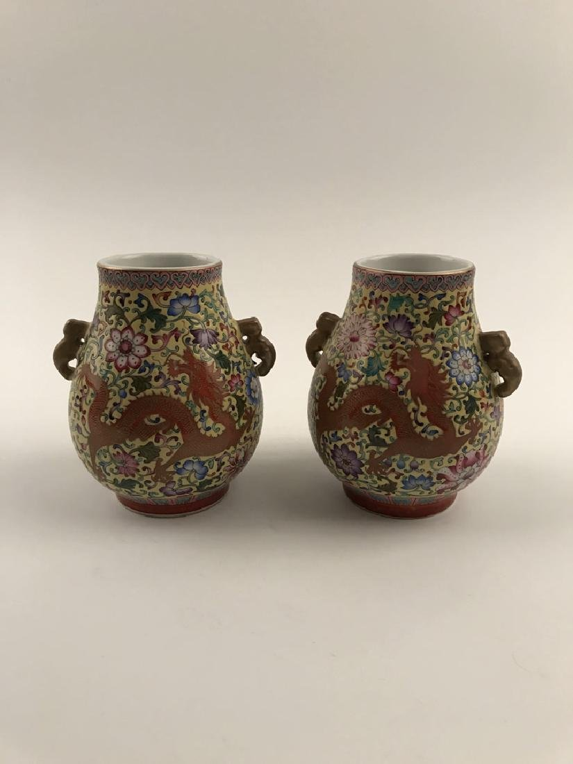 Pair Famille Rose Dragon Vase with Yongzheng Mark - 2