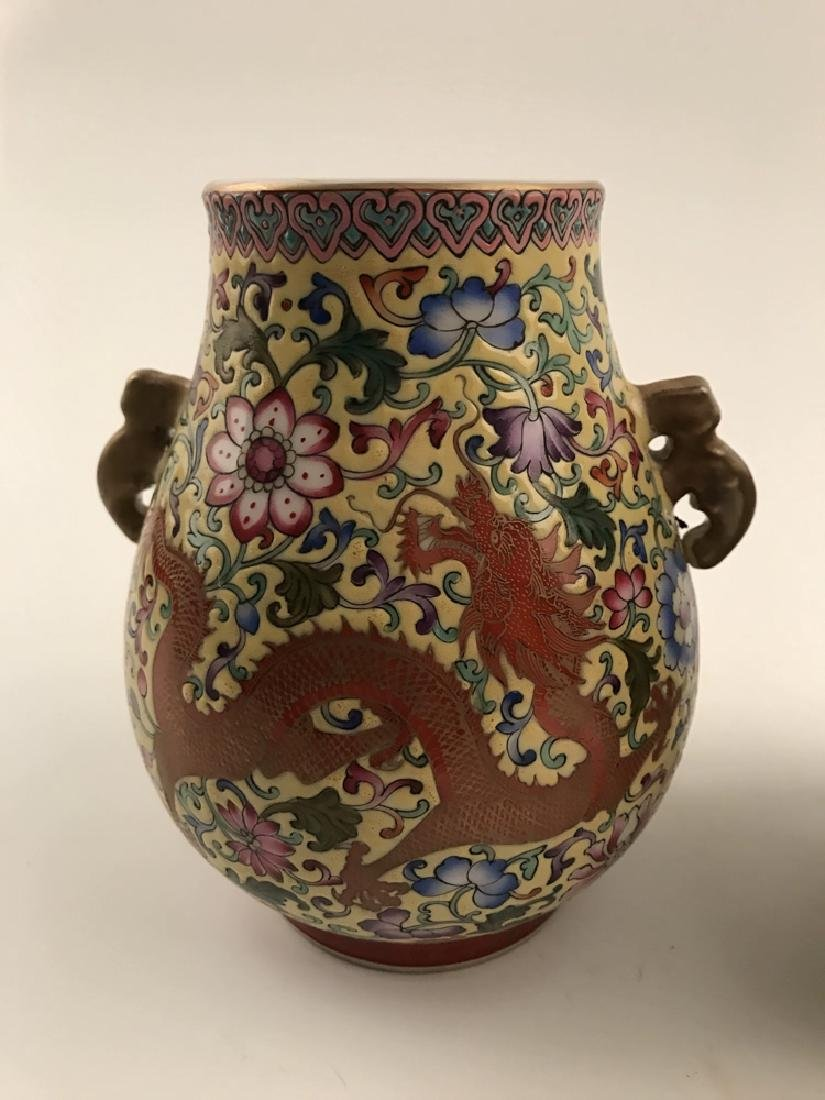 Pair Famille Rose Dragon Vase with Yongzheng Mark - 4