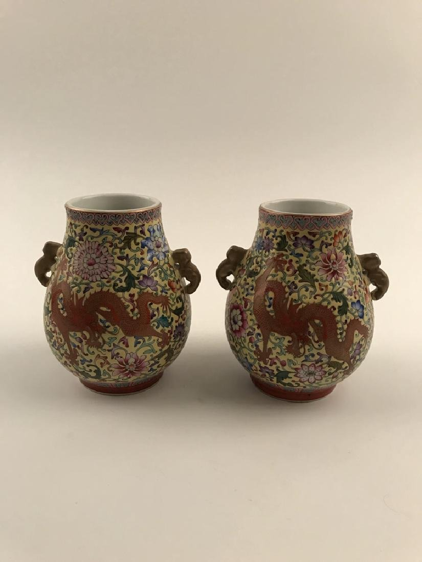 Pair Famille Rose Dragon Vase with Yongzheng Mark - 8
