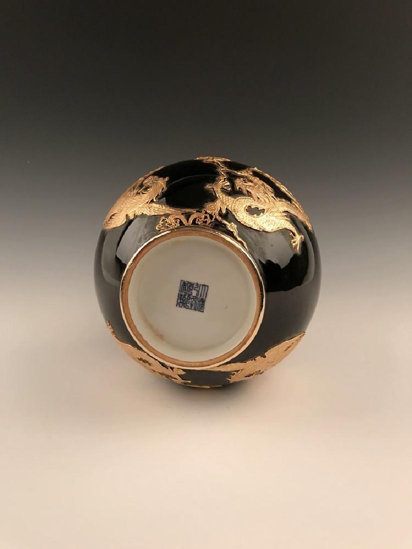 Chinese Gilt Dragon and Phoenix Designed Vase - 5