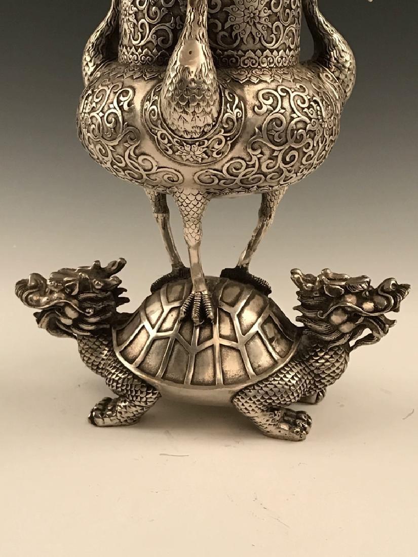 Chinese Silver Bird Censer - 6