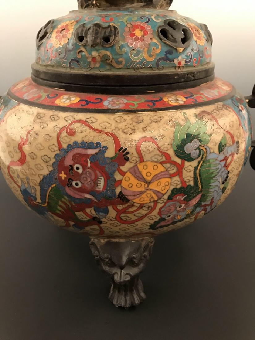Chinese Antique Closionne Censer - 3