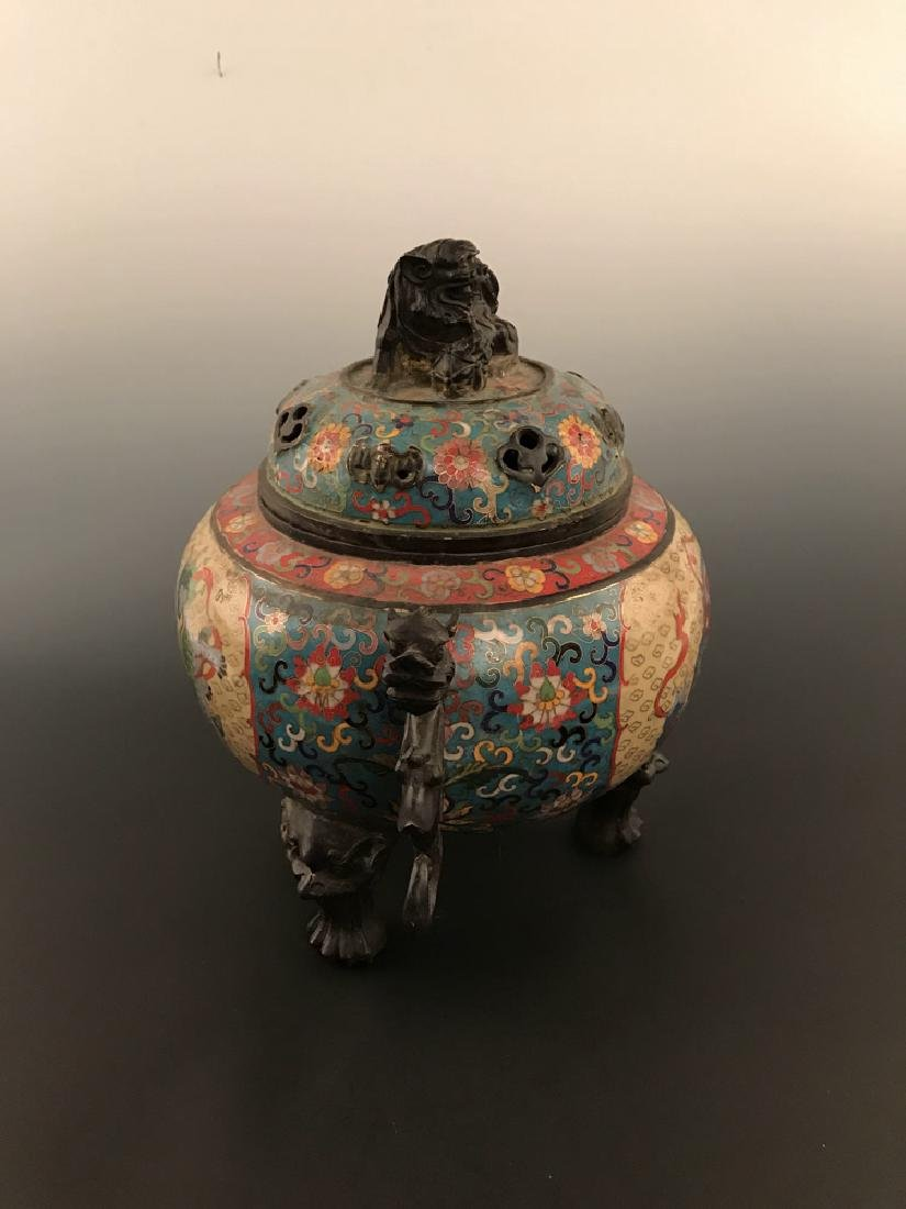 Chinese Antique Closionne Censer - 4
