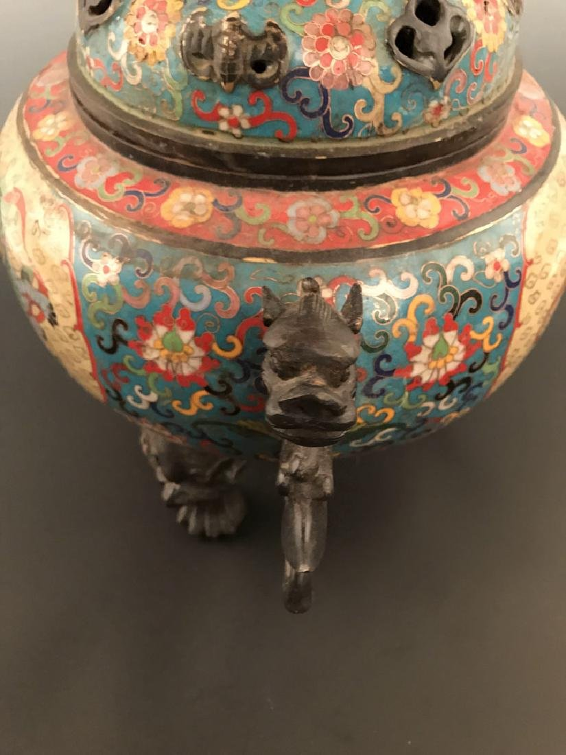 Chinese Antique Closionne Censer - 5
