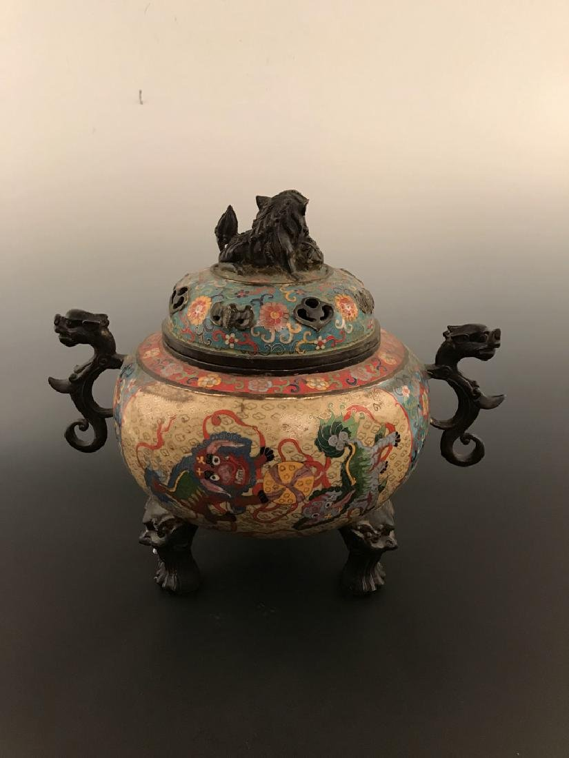 Chinese Antique Closionne Censer - 6