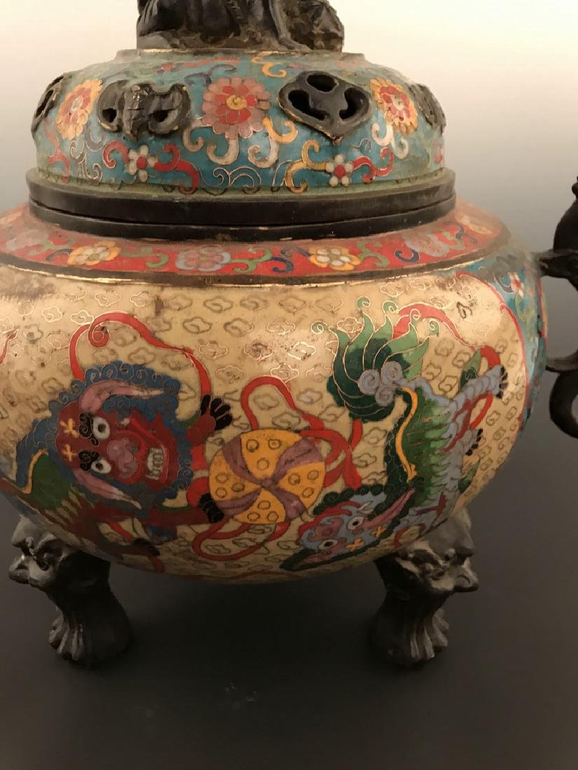 Chinese Antique Closionne Censer - 7