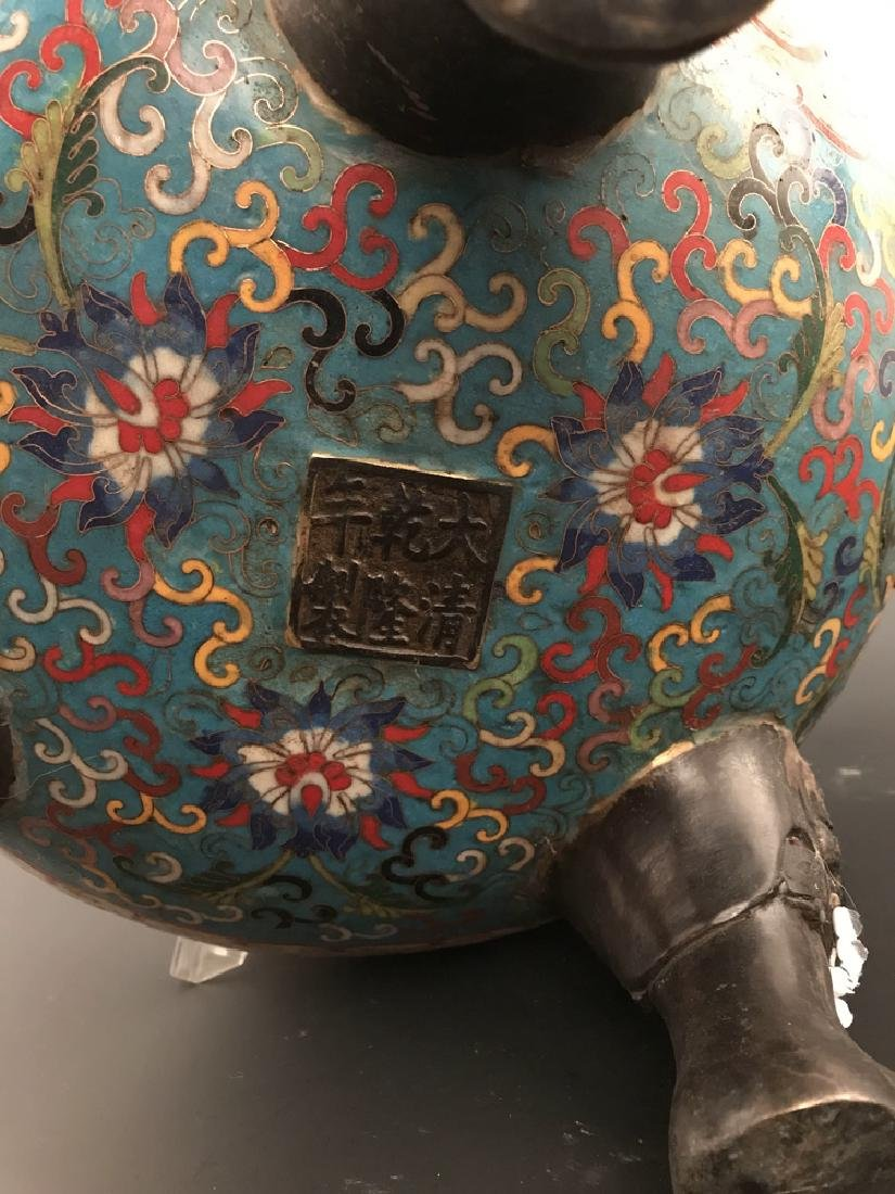 Chinese Antique Closionne Censer - 9