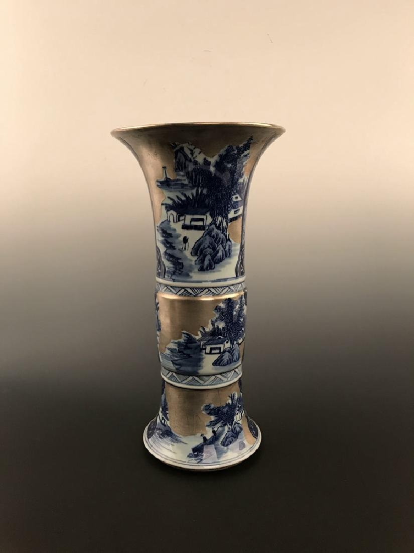 Chinese Blue and Silver Vase - 3