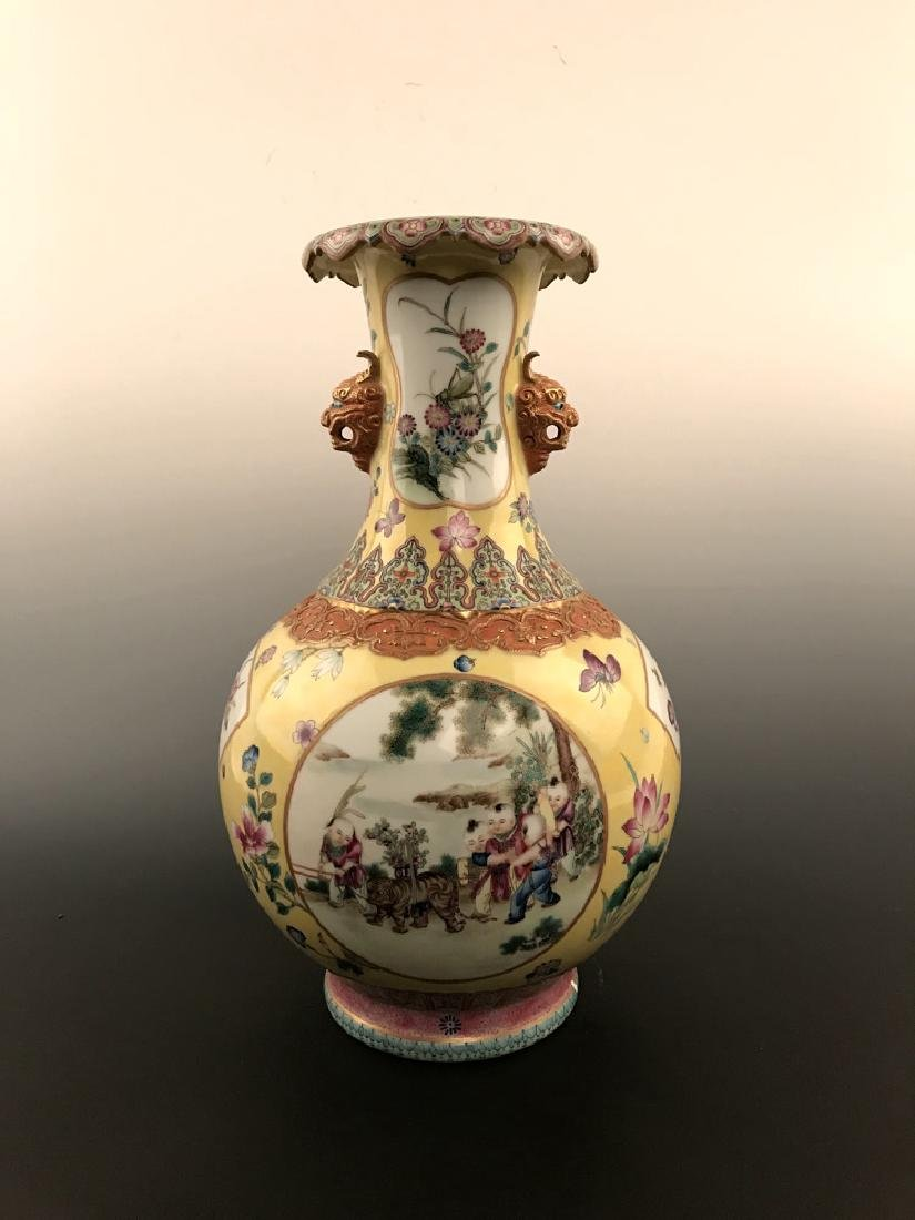 Fine Chinese Famille Rose Vase with Qianlong Mark