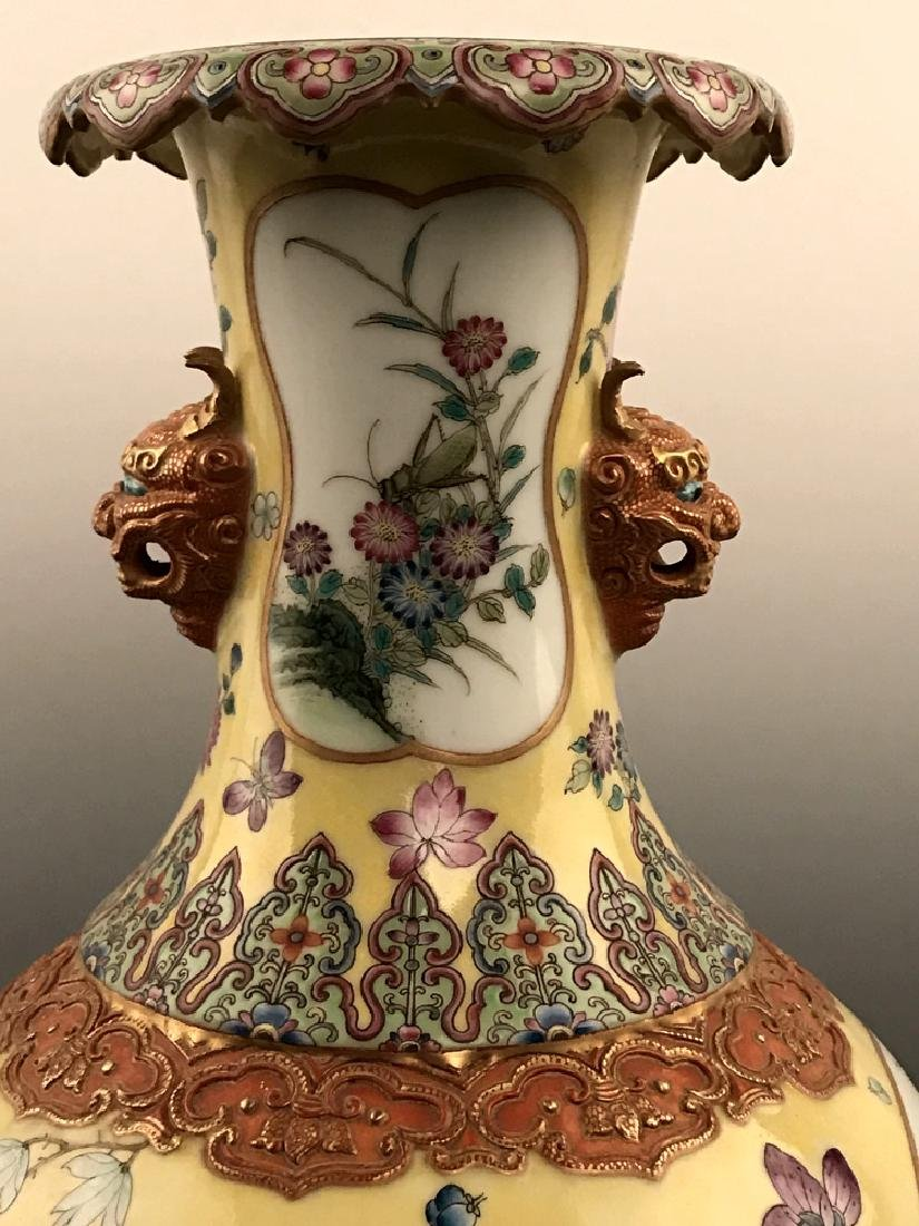 Fine Chinese Famille Rose Vase with Qianlong Mark - 3