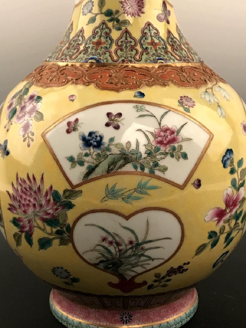 Fine Chinese Famille Rose Vase with Qianlong Mark - 6