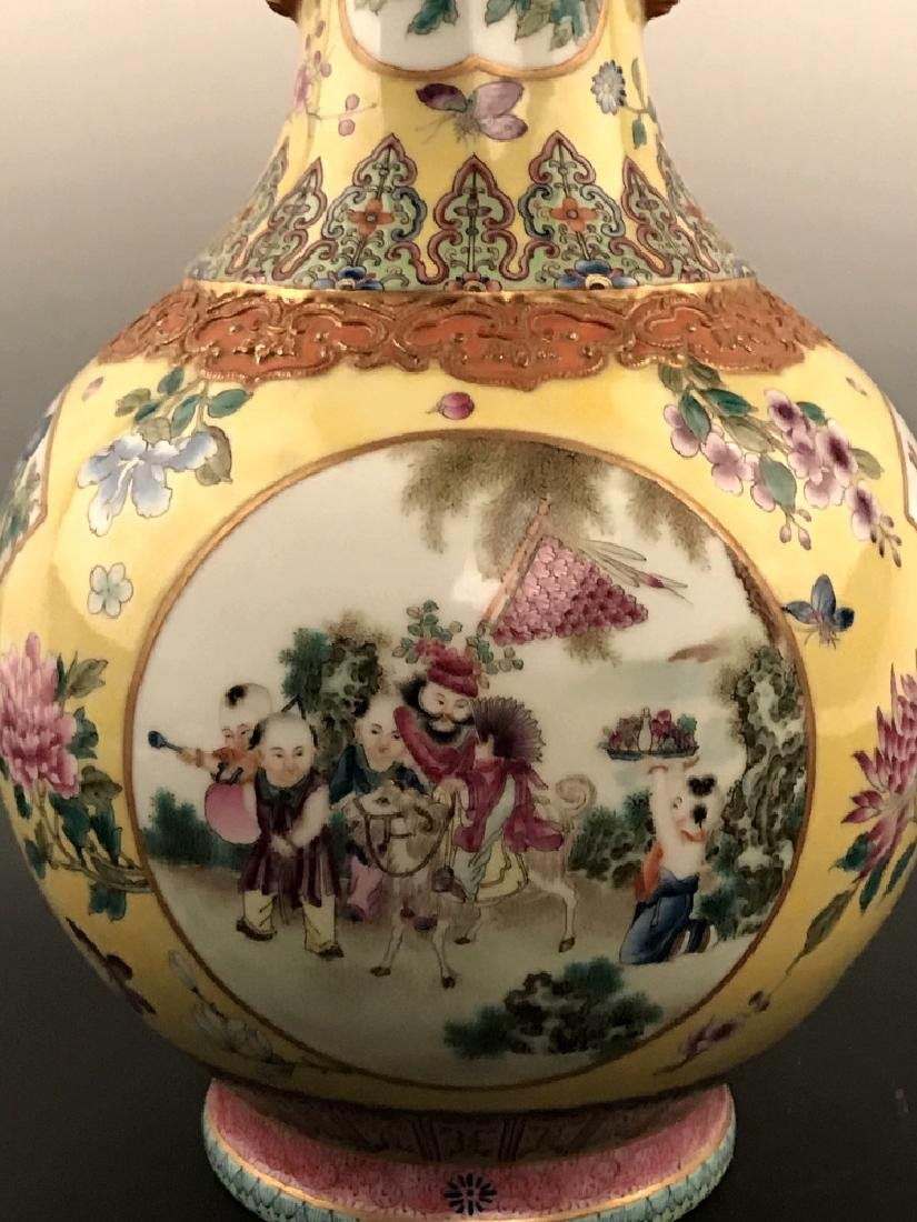 Fine Chinese Famille Rose Vase with Qianlong Mark - 7