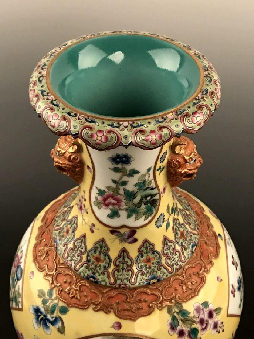Fine Chinese Famille Rose Vase with Qianlong Mark - 9
