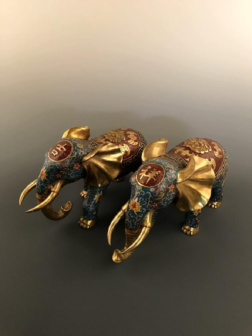 Pair Chinese Cloisonne Elephant with Qianlong Mark - 10