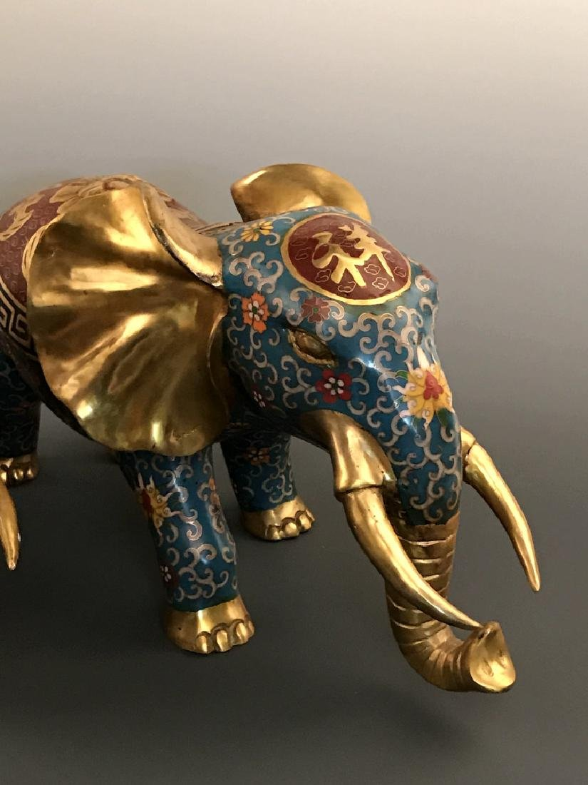 Pair Chinese Cloisonne Elephant with Qianlong Mark - 2