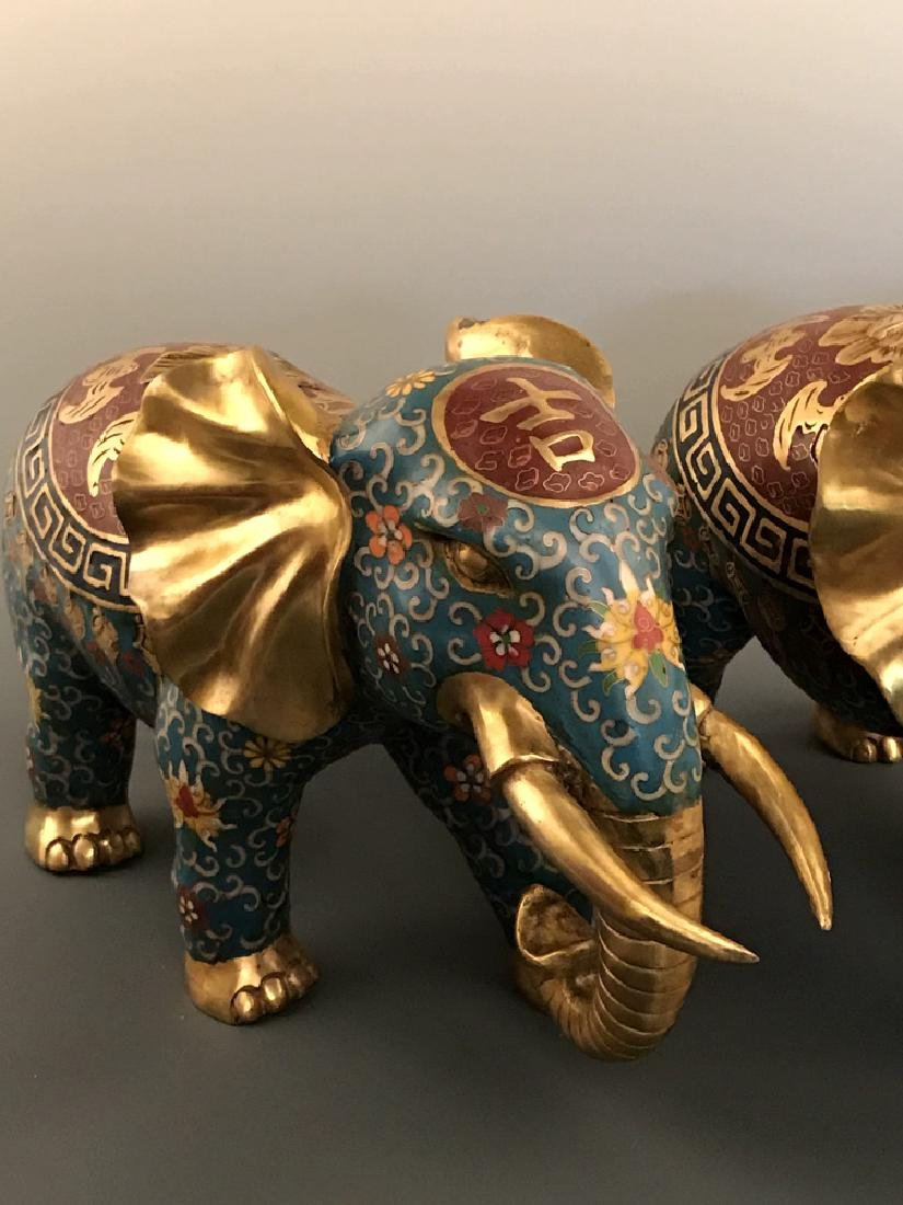Pair Chinese Cloisonne Elephant with Qianlong Mark - 3