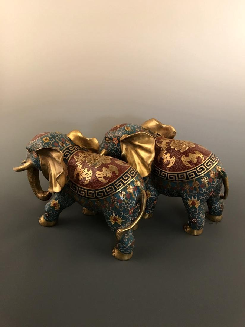 Pair Chinese Cloisonne Elephant with Qianlong Mark - 4