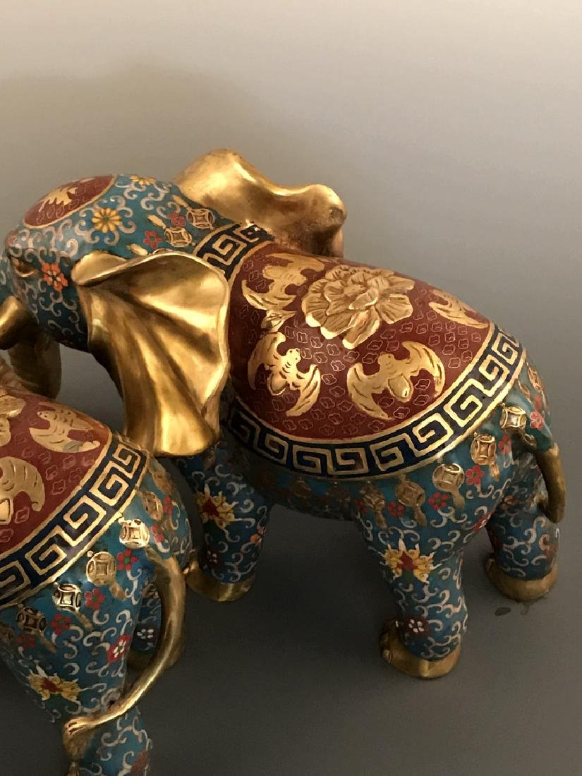 Pair Chinese Cloisonne Elephant with Qianlong Mark - 6