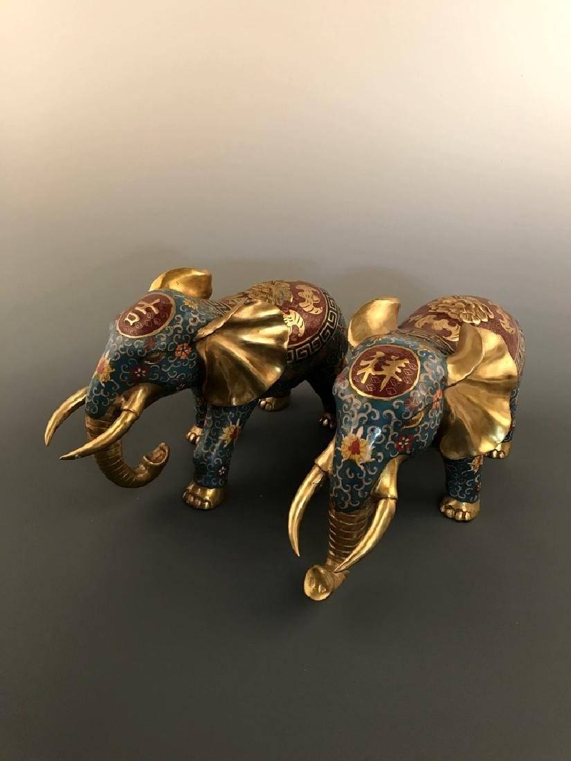 Pair Chinese Cloisonne Elephant with Qianlong Mark - 7
