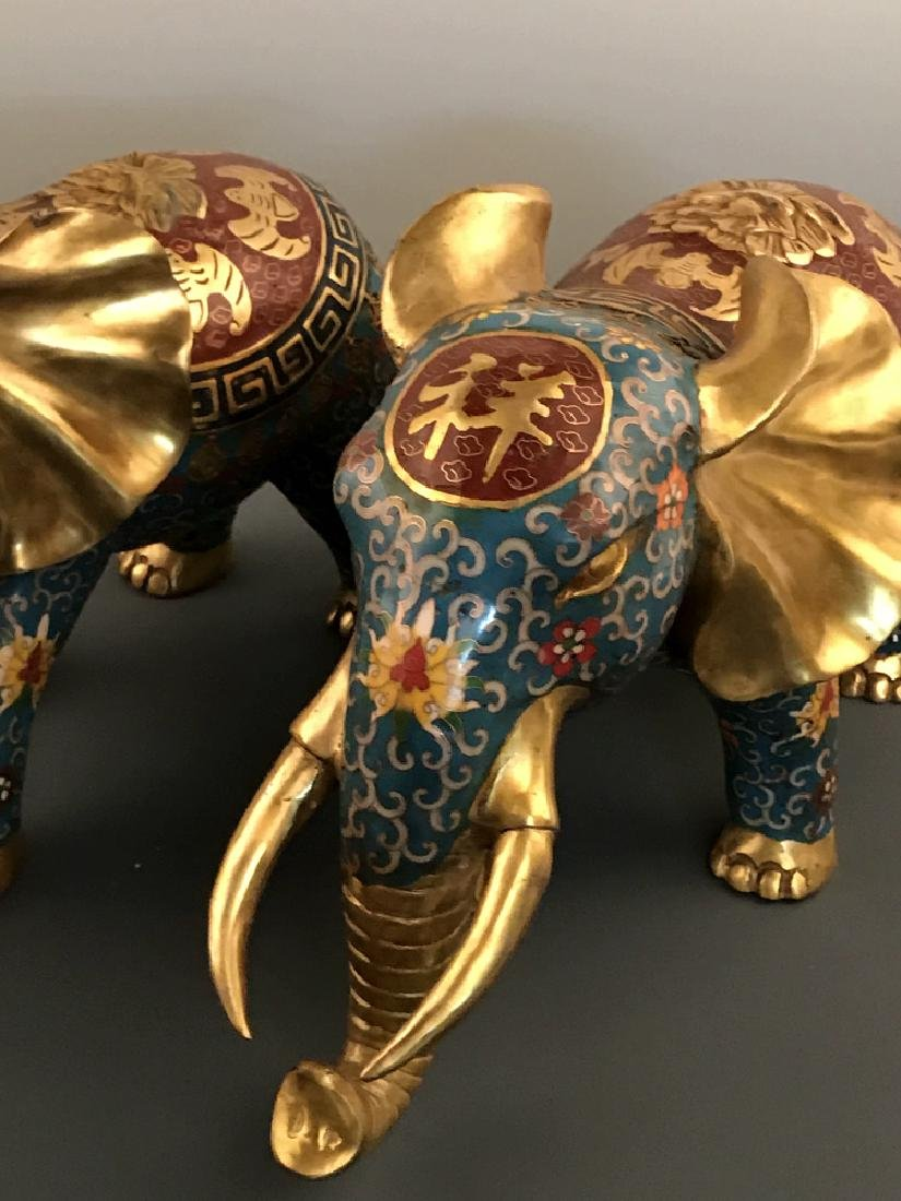 Pair Chinese Cloisonne Elephant with Qianlong Mark - 8