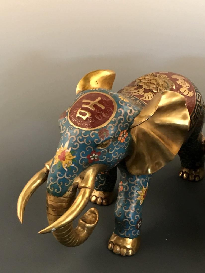 Pair Chinese Cloisonne Elephant with Qianlong Mark - 9