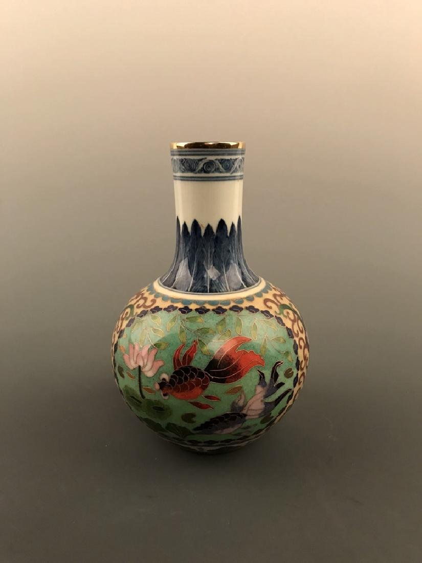 Chinese Cloisonne Vase with Fish Design