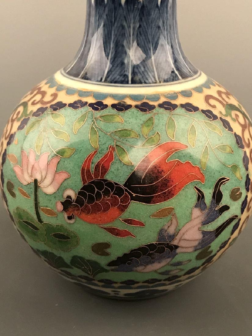 Chinese Cloisonne Vase with Fish Design - 2