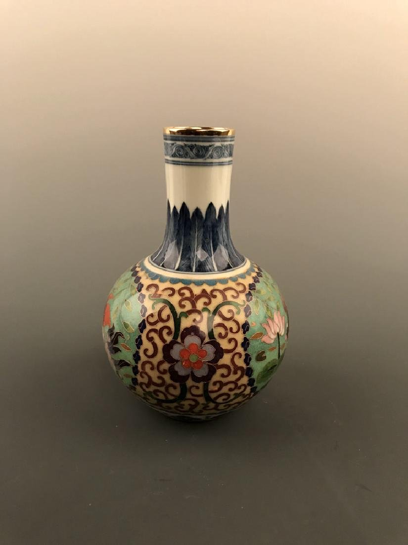 Chinese Cloisonne Vase with Fish Design - 3