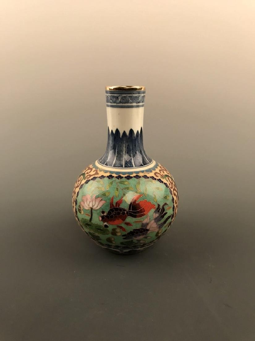 Chinese Cloisonne Vase with Fish Design - 4
