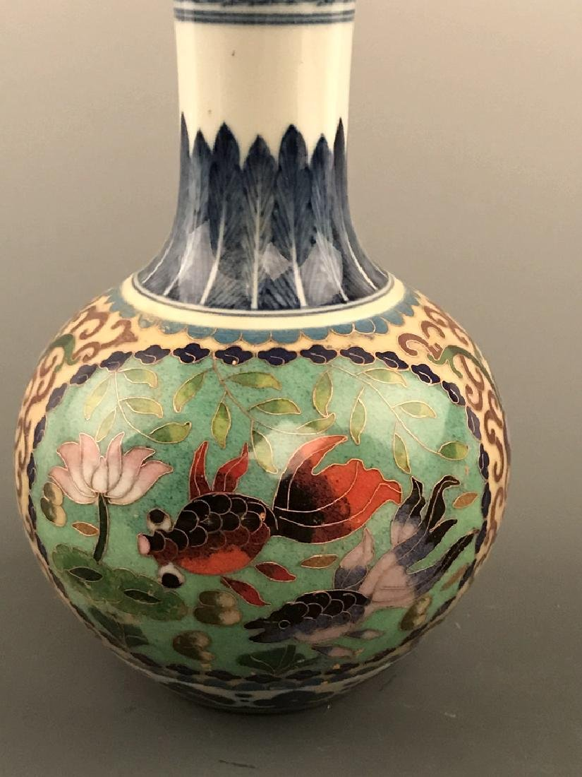 Chinese Cloisonne Vase with Fish Design - 5
