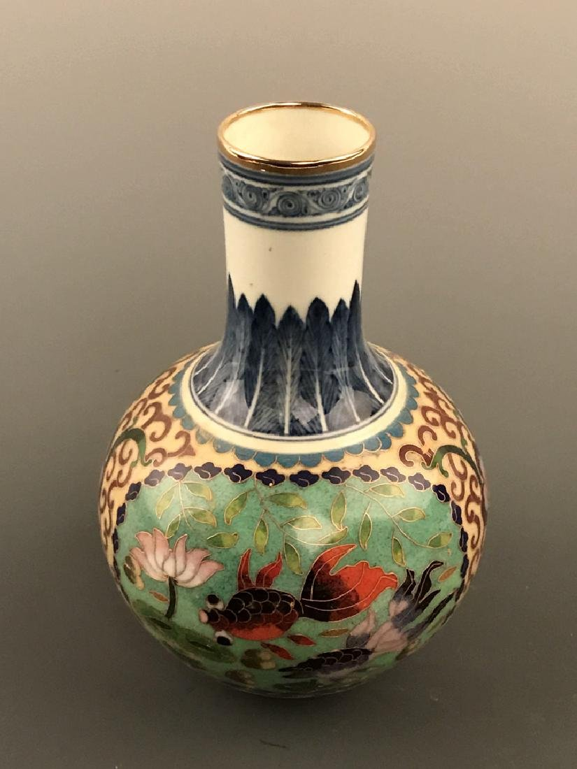 Chinese Cloisonne Vase with Fish Design - 6