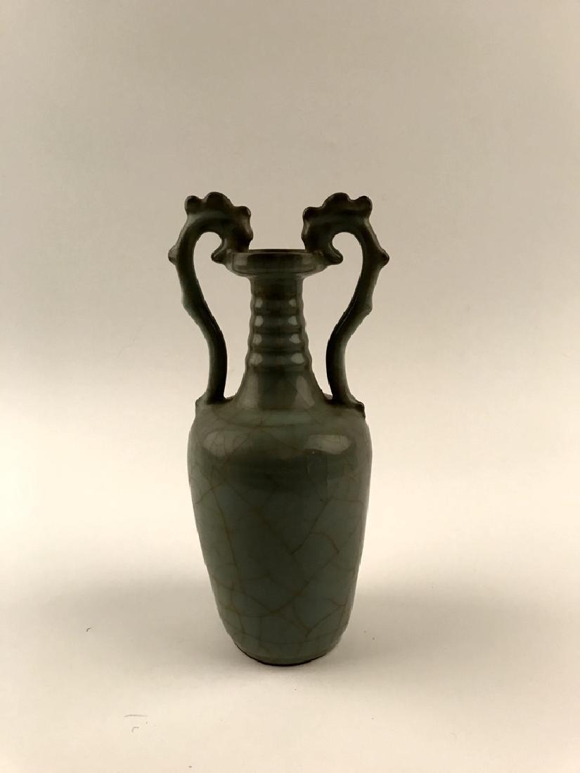 Chinese Celadon Glazed Vase with Handle