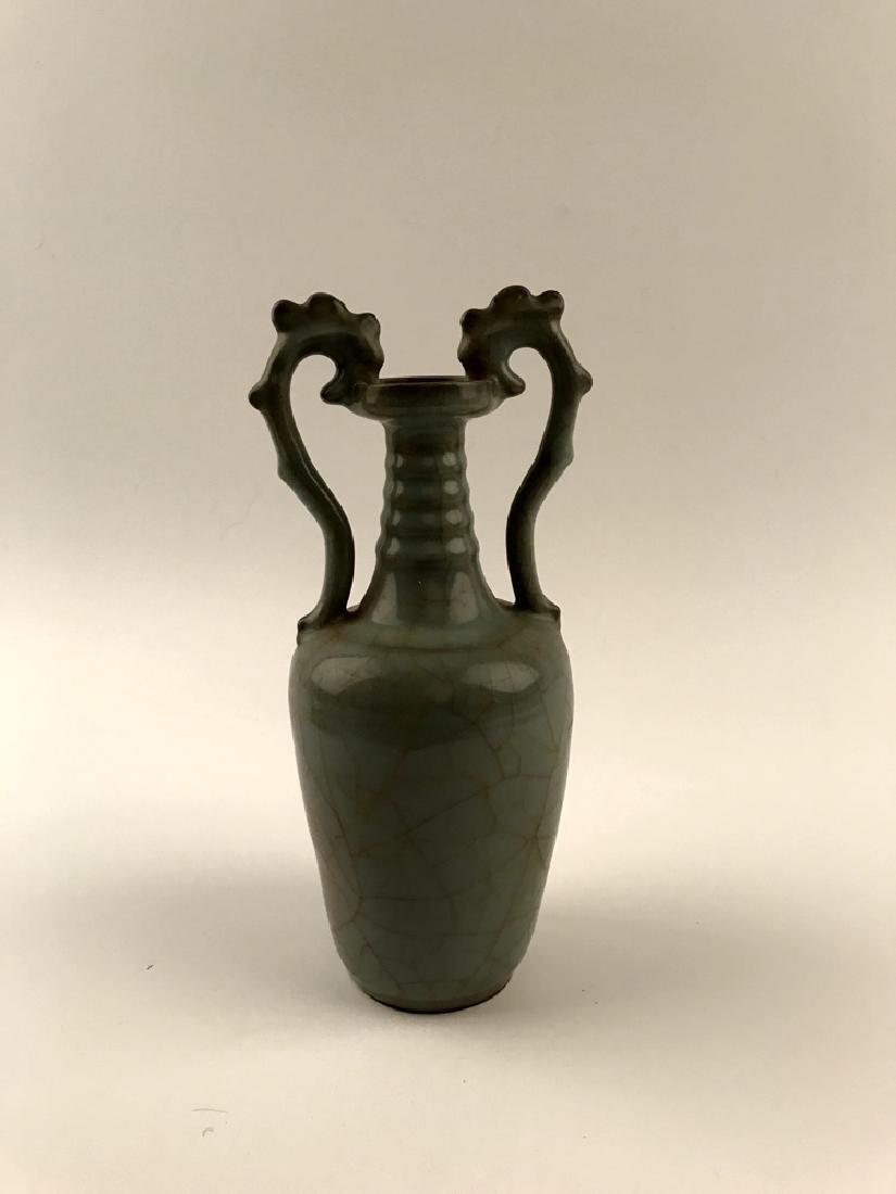 Chinese Celadon Glazed Vase with Handle - 3