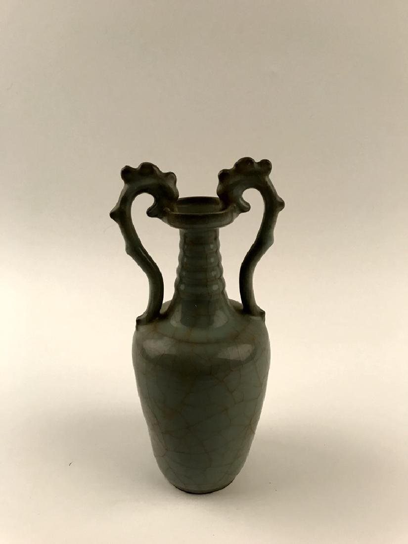 Chinese Celadon Glazed Vase with Handle - 4