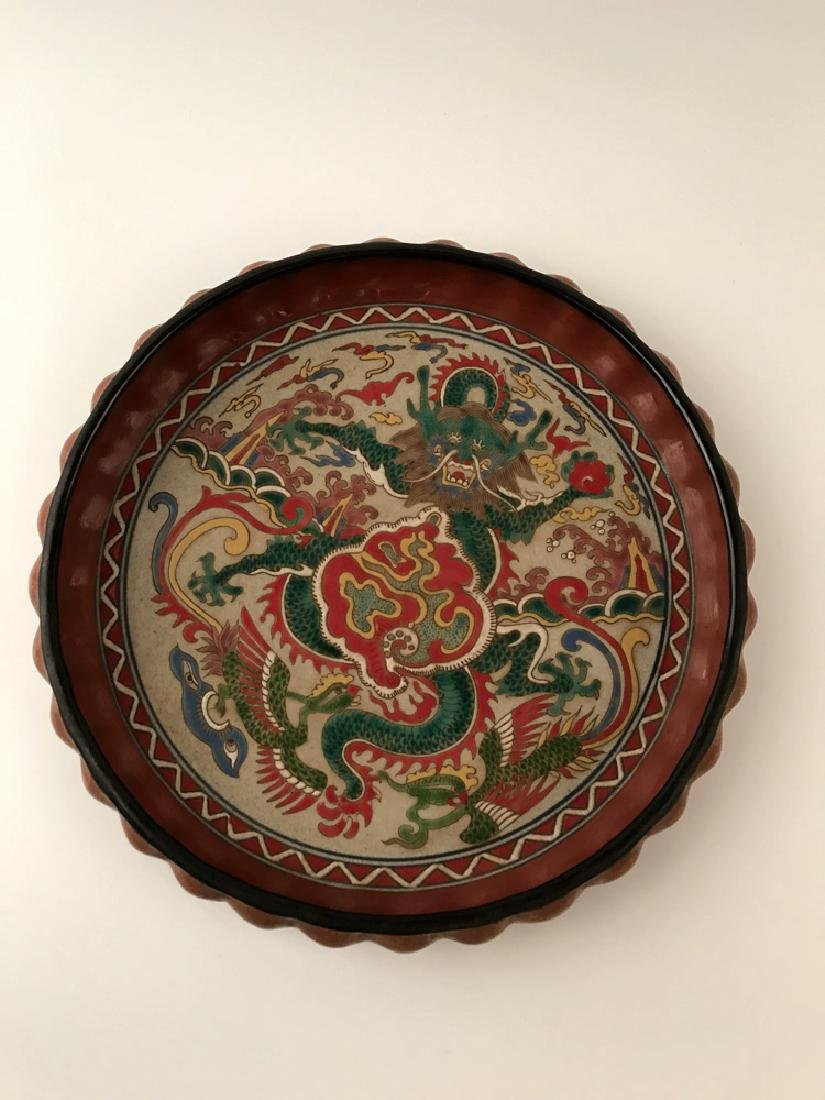 Chinese Wucai Dragon Plate with Wanli Mark