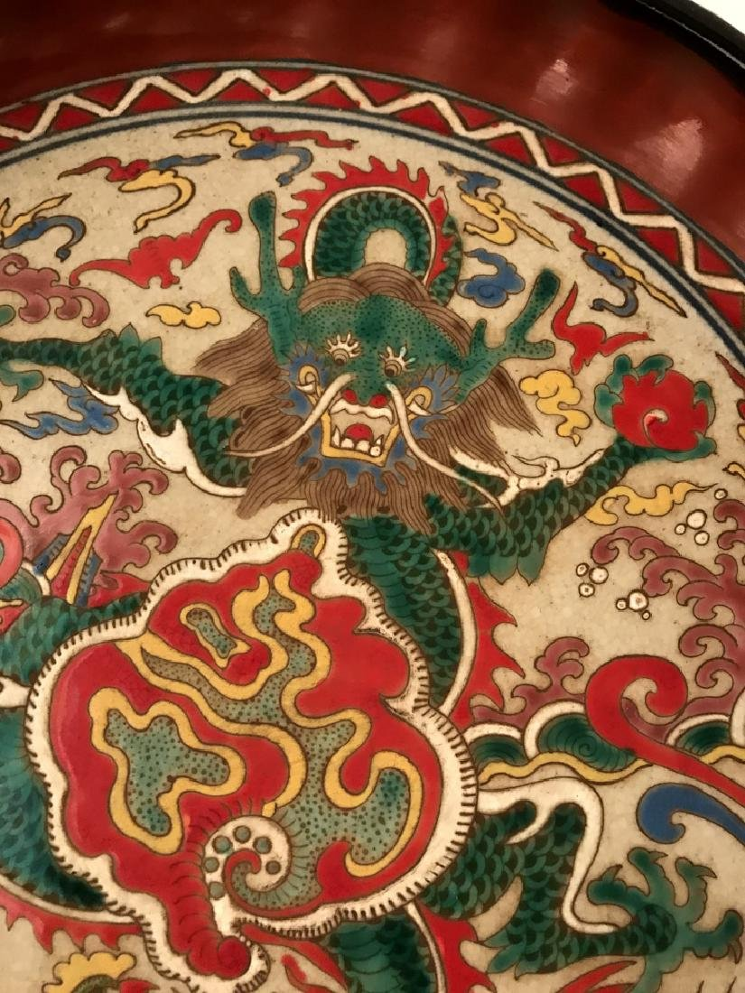 Chinese Wucai Dragon Plate with Wanli Mark - 2