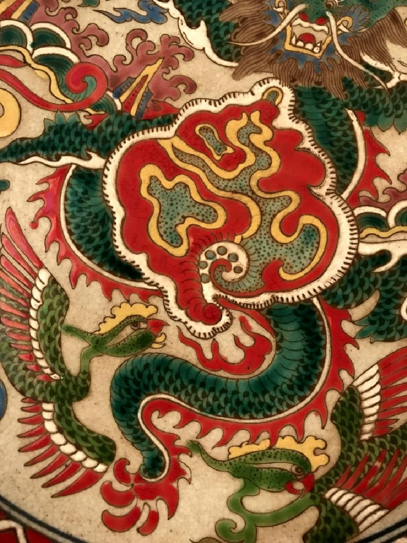 Chinese Wucai Dragon Plate with Wanli Mark - 3