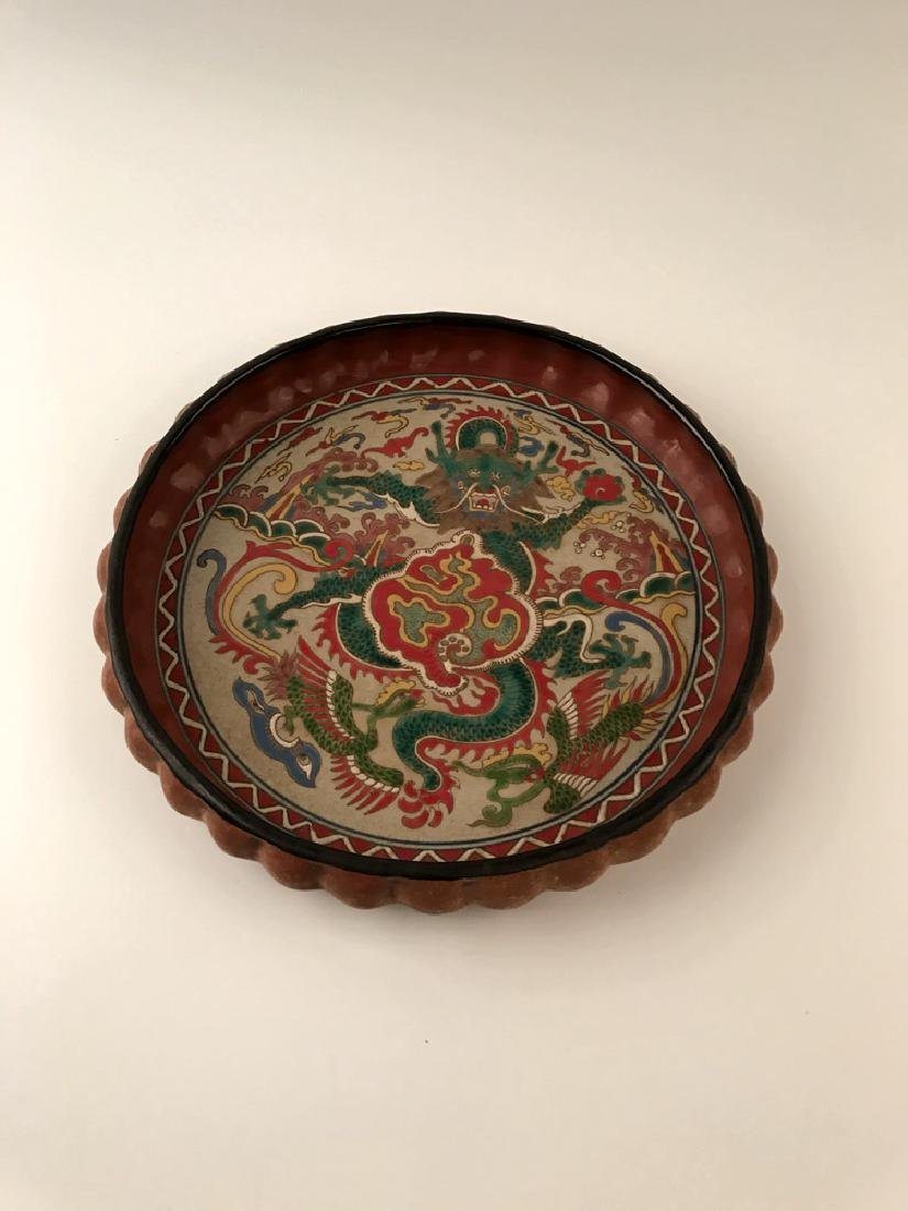 Chinese Wucai Dragon Plate with Wanli Mark - 6