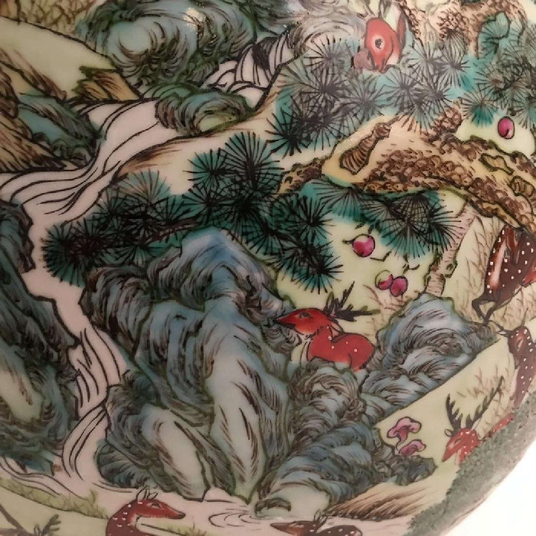 Fine Chinese Qing Famille Rose Vase with Deers - 10