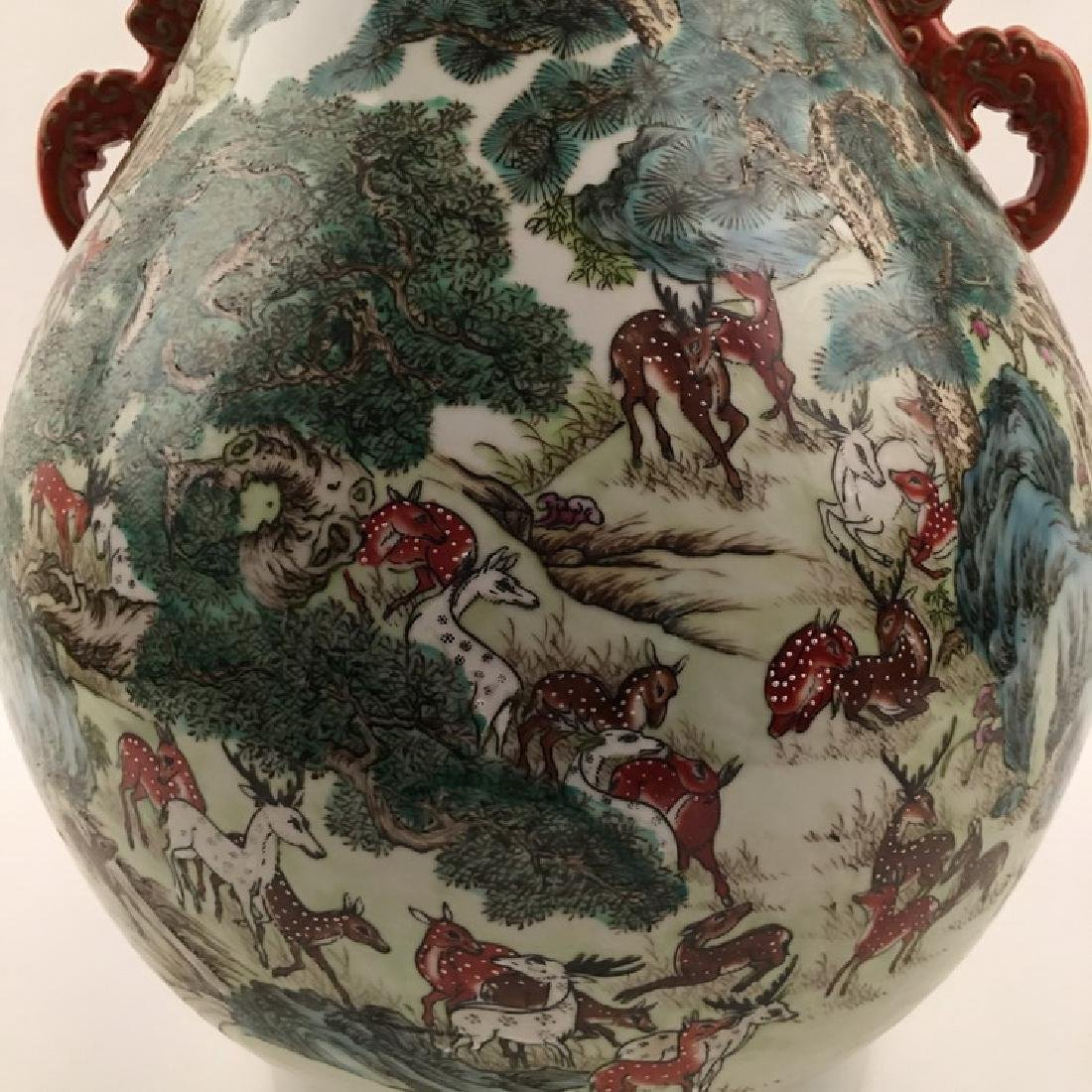 Fine Chinese Qing Famille Rose Vase with Deers - 2