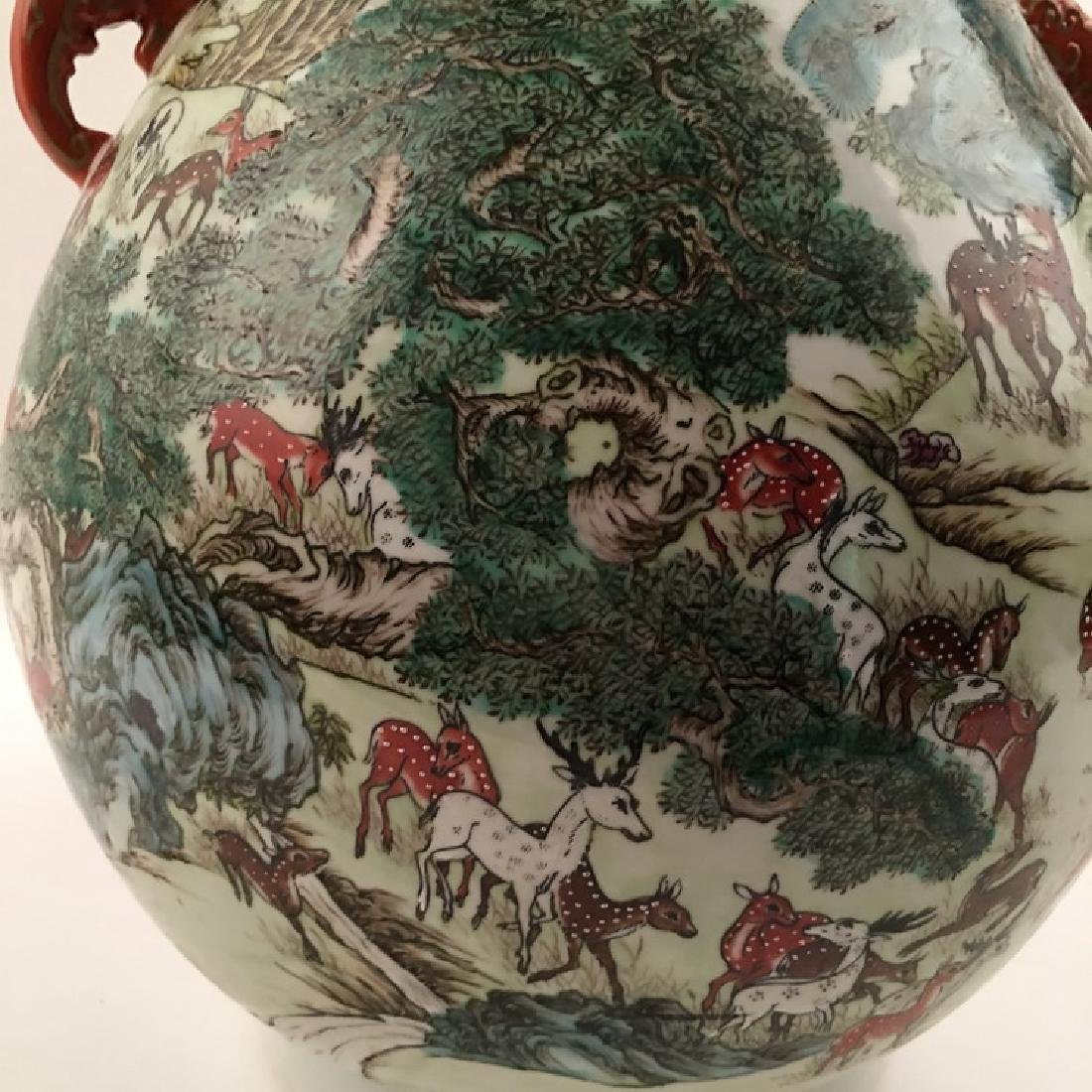 Fine Chinese Qing Famille Rose Vase with Deers - 3