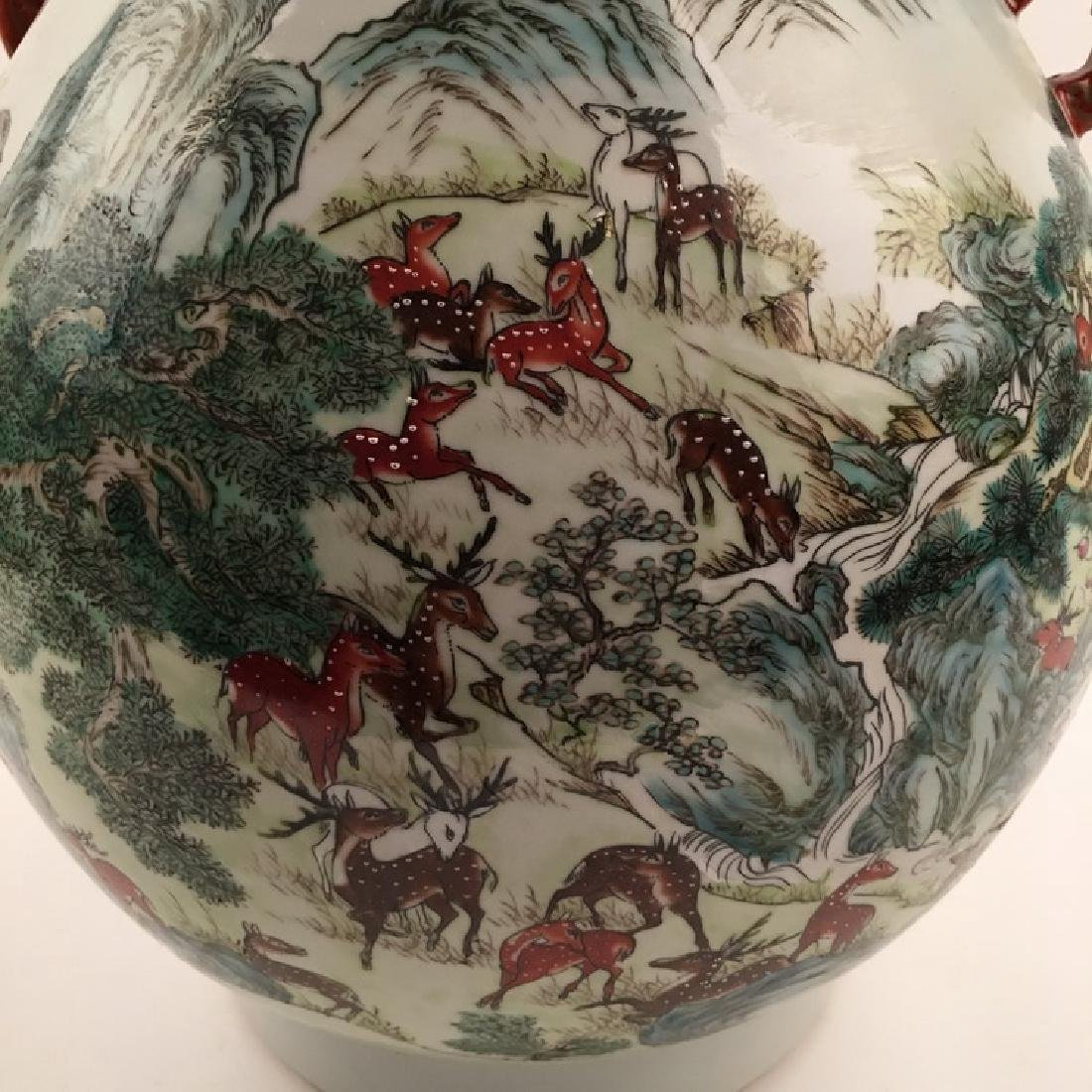 Fine Chinese Qing Famille Rose Vase with Deers - 7