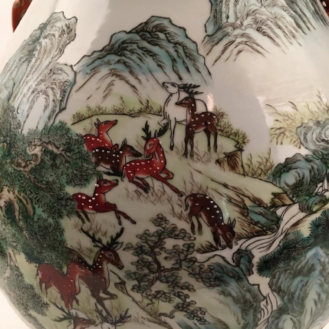 Fine Chinese Qing Famille Rose Vase with Deers - 9