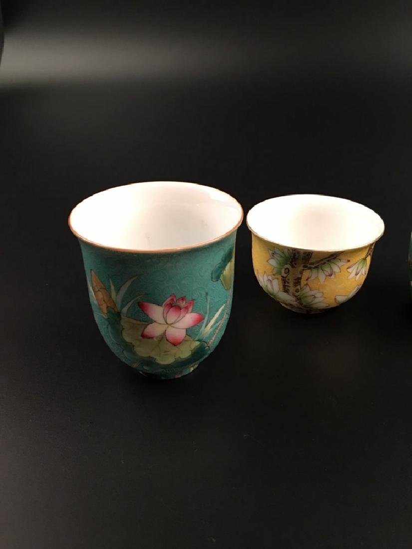 Four Pieces Chinese Famille Rose Tea Cup with Qianlong - 3