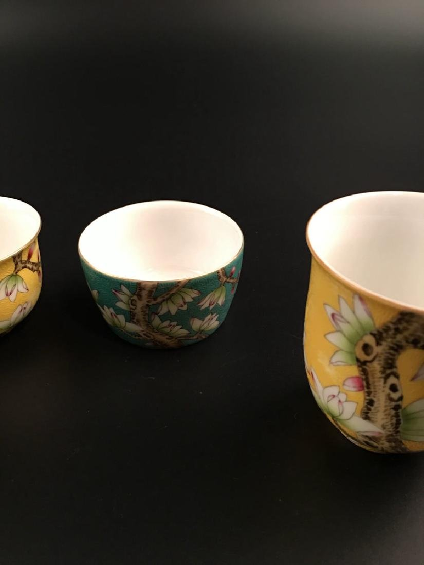 Four Pieces Chinese Famille Rose Tea Cup with Qianlong - 4