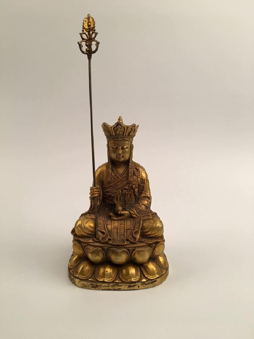Chinese Gilt Bronze  Tang Seng San Zang Bodhisattva - 9