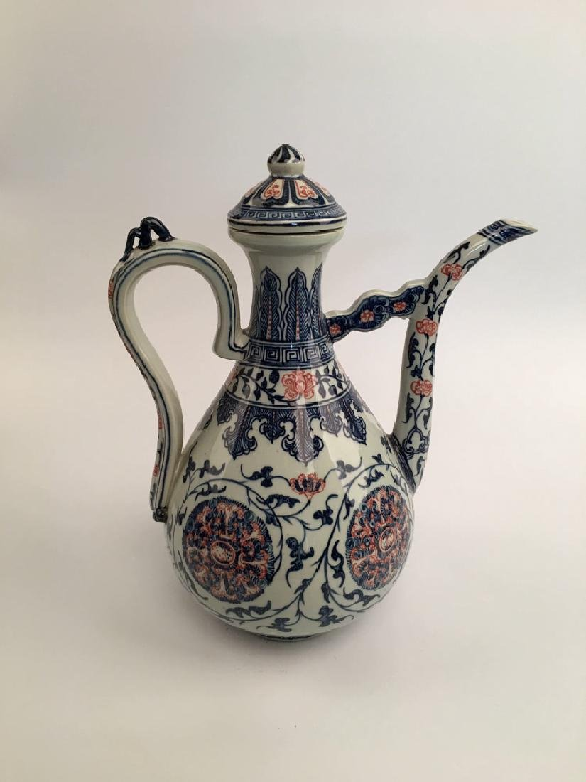 Chinese Blue and Red Porcelain Pitcher - 2