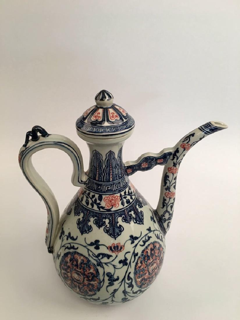 Chinese Blue and Red Porcelain Pitcher - 3