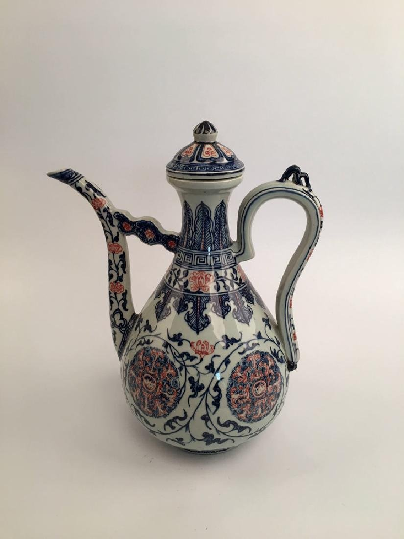 Chinese Blue and Red Porcelain Pitcher - 6