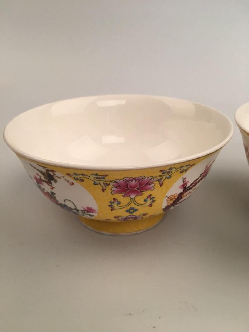 A Pair Famille Rose Flower Bowl - 4